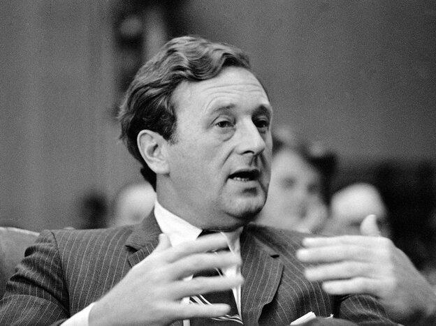 Nashville Tennessean Editor John Seigenthaler testifies at a Senate Commerce Subcommittee hearing in Washington in 1969. Seigenthaler died Friday at 86.