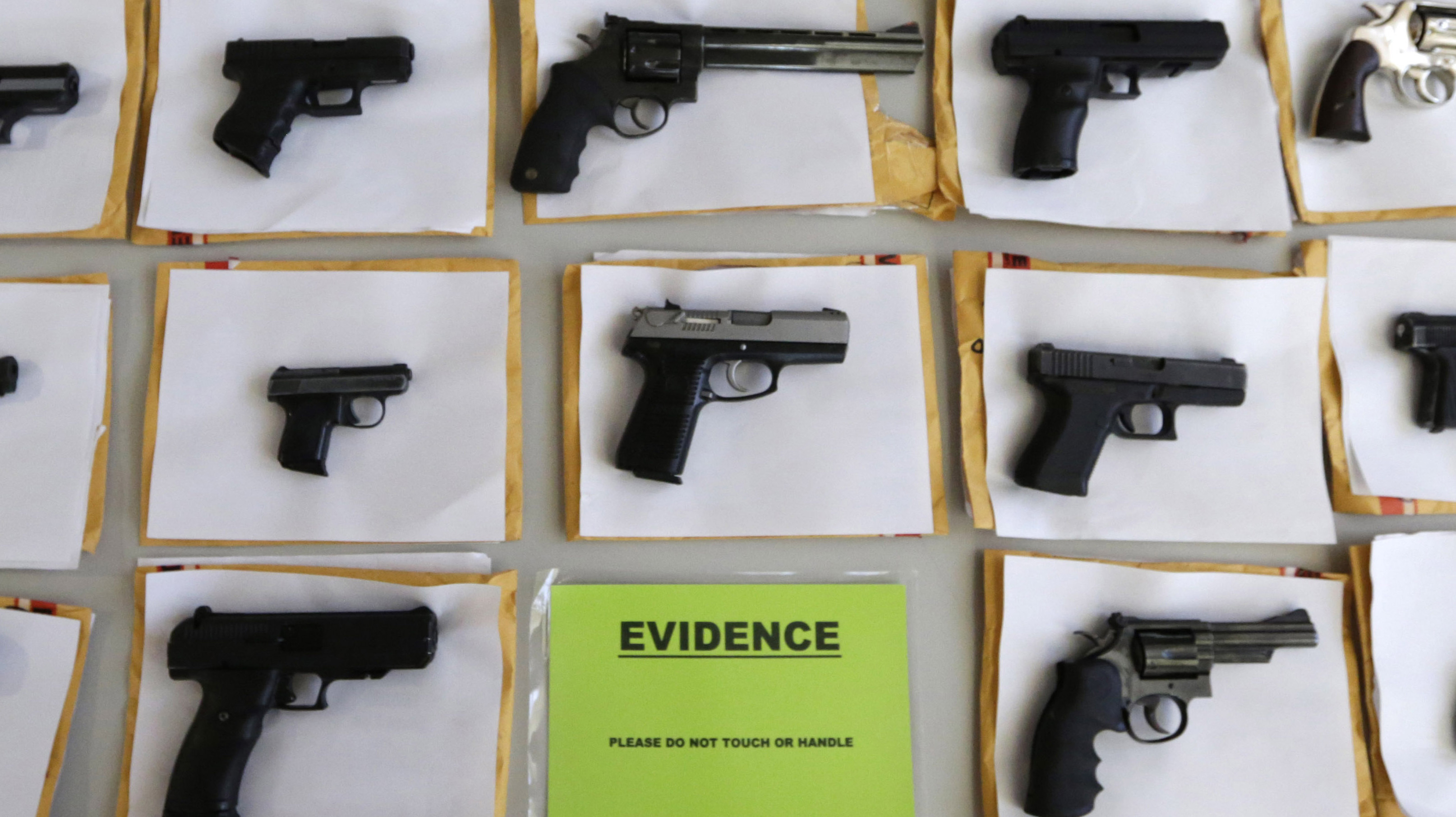 At a news conference last week, Chicago police officials displayed some of the nearly 3,400 illegal firearms they have confiscated so far this year in their efforts to reduce gun violence. Eighty people were shot in Chicago over the three-day Fourth of July weekend.
