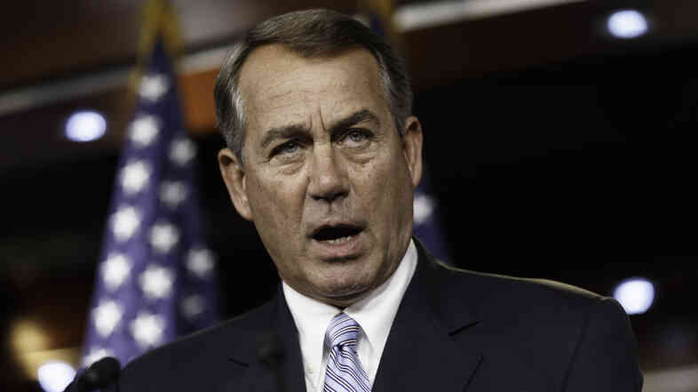 House Speaker John Boehner at a Capitol Hill news conference last month. He said Wednesday that the Republican-controlled House will file a lawsuit accusing President Obama of failing to carry out laws passed by Congress.