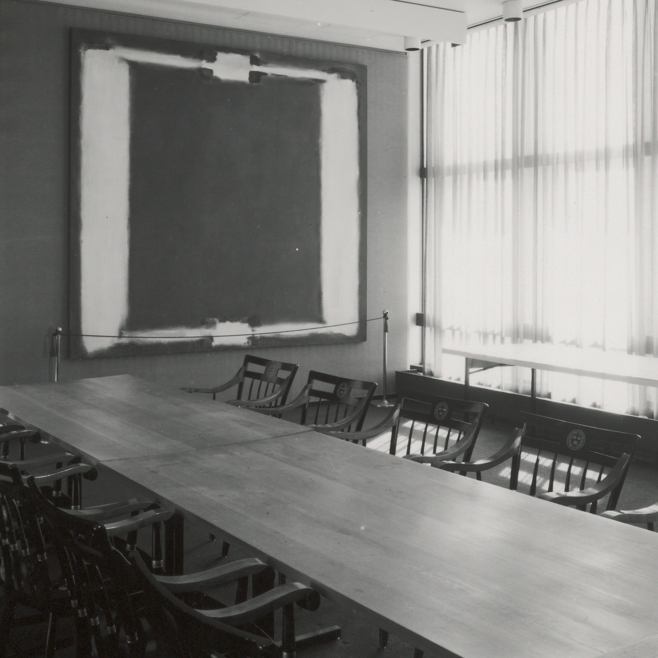 Panel Five of Rothko's Harvard Murals hangs in Holyoke Center in January 1968.