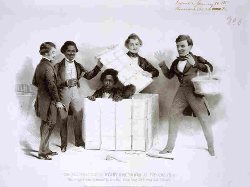 A print of the dramatic moment Henry Box Brown emerged from the box in Philadelphia.