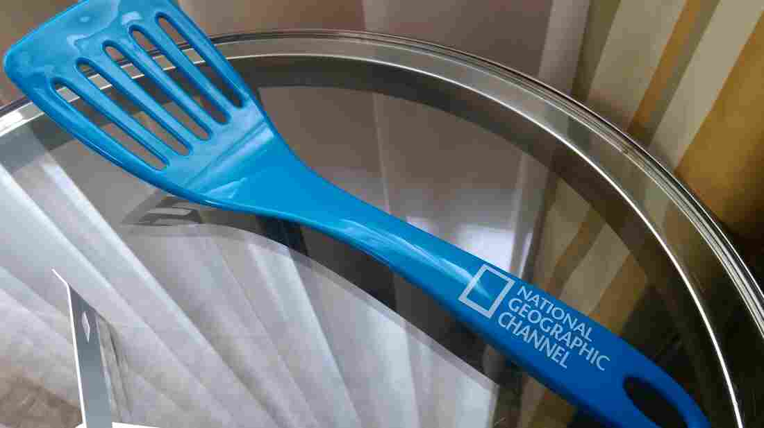 This blue spatula is promoting an upcoming food documentary on Nat Geo.