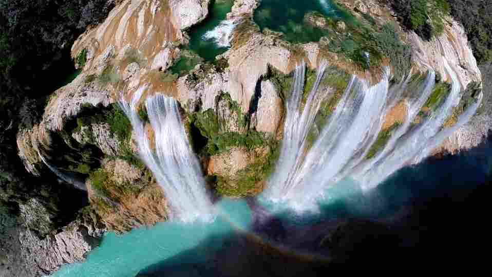 The Tamul waterfall in San Luis Potosí, Mexico, is seen in this image taken with the help of a drone aircraft. The water reportedly falls more than 340 feet.