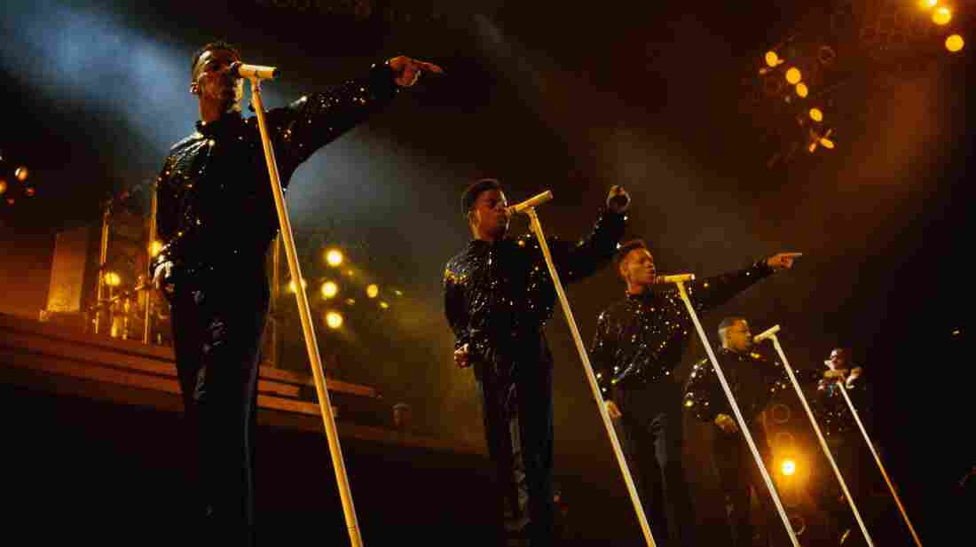 New Edition performs in 1989. The Boston-based group was patterned on The Jackson 5 by producer Maurice Starr and went on to become the model for boy bands like New Kids on the Block.