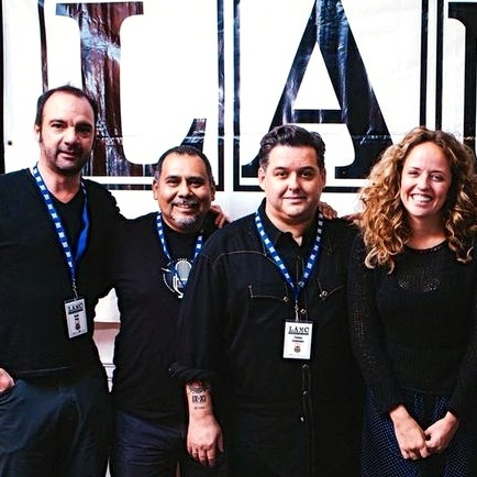 (From left) Vive Latino founder Jordi Puig, Felix Contreras, Tomas Cookman (founder of Nacional Records and the Latin Alternative Music Conference), Jasmine Garsd, Dante Spinetta (from Argentine band Illya Kuryaki And The Valderramas) and Gabriel Abaroa (president of the Latin Recording Academy).