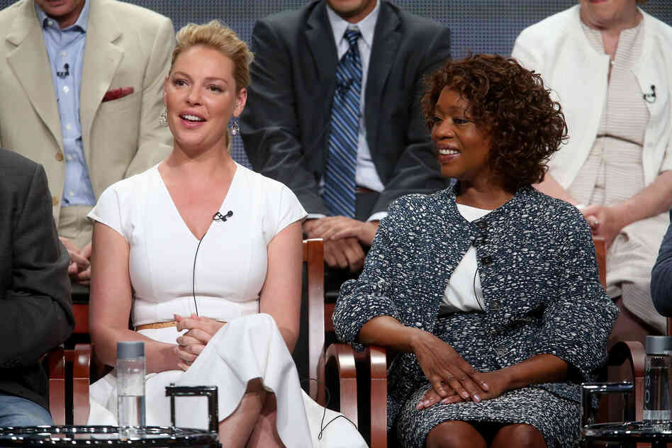 Katherine Heigl and Alfre Woodard, stars of NBC's new fall drama State of Affairs, speak at the Television Critics Association's summer press tour in Los Angeles.