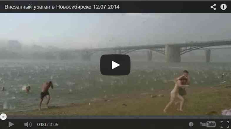 Beachgoers in central Russia are caught in a freak hailstorm.