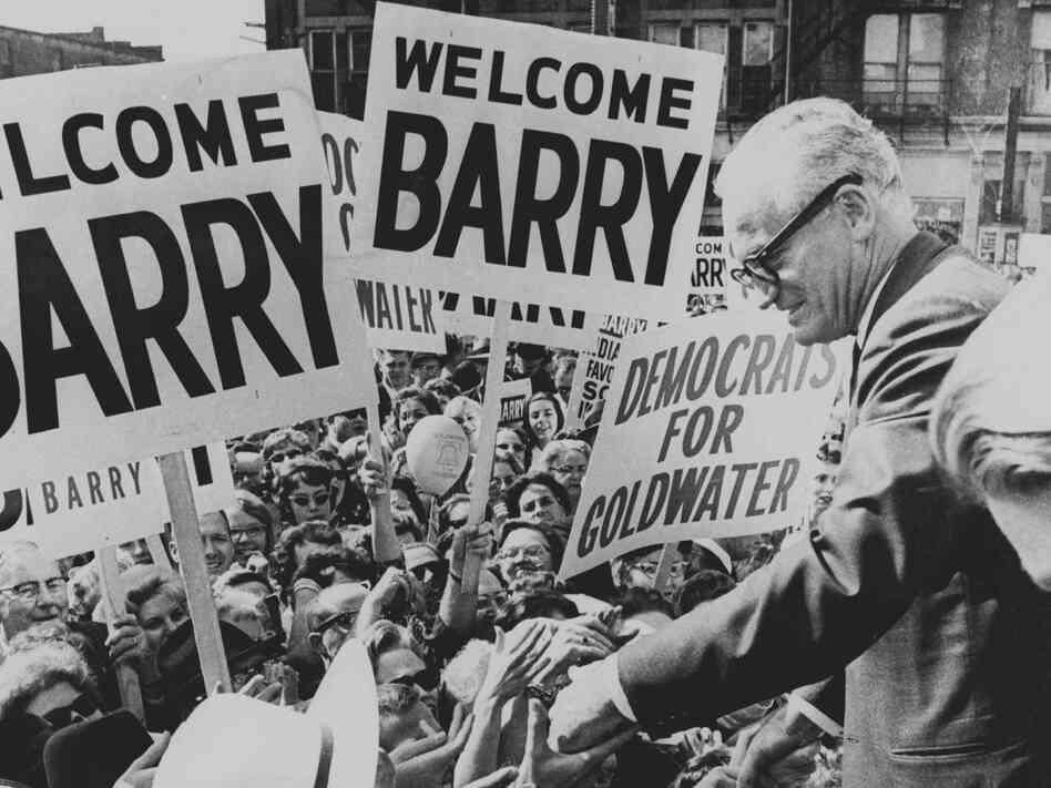 Barry Goldwater greets an Indianapolis crowd during a campaign tour in Oct. 1964.