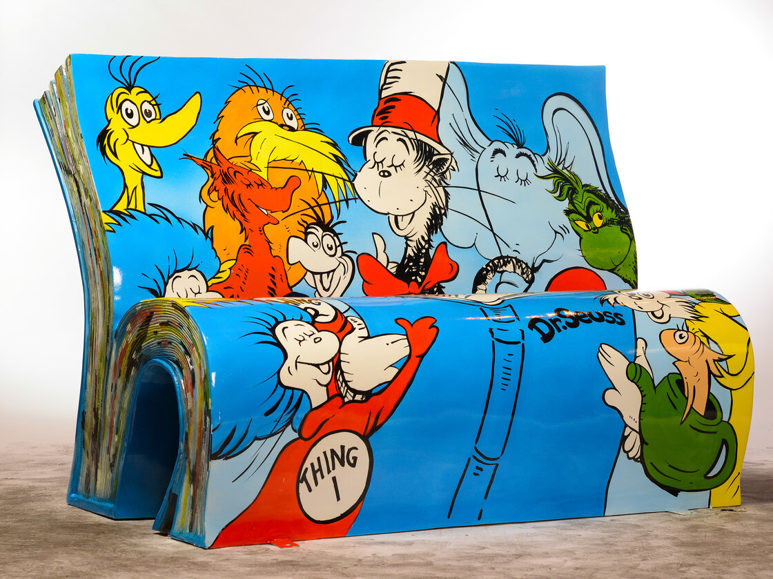 Jane Headford designed this Dr. Seuss bench, which is spending the summer alongside the River Thames