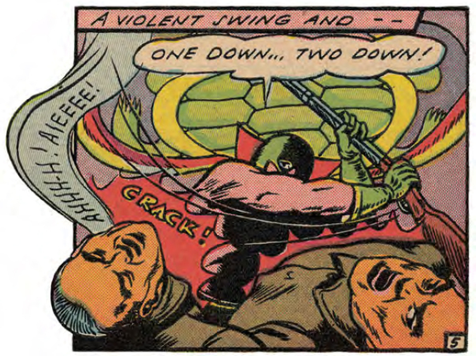The Green Turtle's swinging arm obscures his face in this panel from Blazing Comics. (Courtesy of First Second Books)