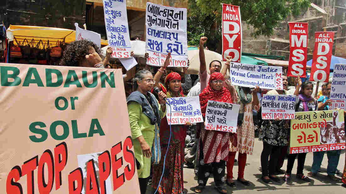 Demonstrators in Ahmadabad, India, protest rape and other attacks on women and girls.