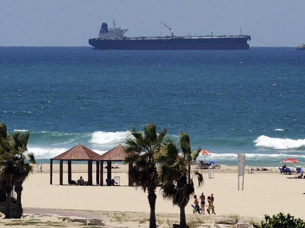 A tanker carrying crude oil from Iraq's Kurdish region anchors near Ashkelon, Israel. It's believed the oil has been off-loaded into Israel. The U.S. and Baghdad oppose the Kurdish export of oil from the autonomous northern region.