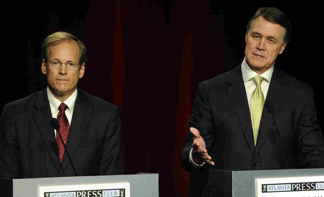 Georgia Republican senatorial candidates Rep. Jack Kingston of Savannah (left) and former Dollar General CEO David Perdue at a debate in May.