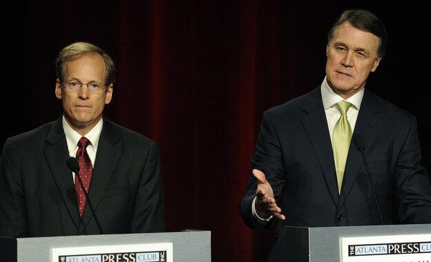Georgia Republican senatorial candidates Rep. Jack Kingston of Savannah (left) and former Dollar General CEO David Perdue at a debate in May.