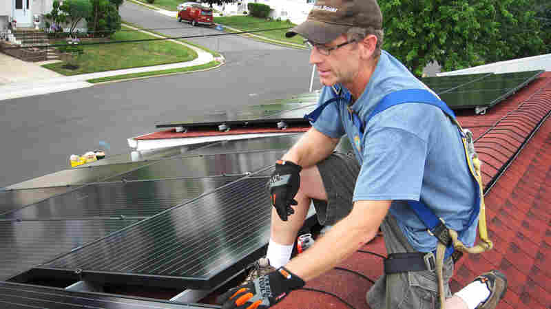 Mark Bortman of Exact Solar in Yardley, Pa., says having leased solar panels on a roof can add an extra step when selling a house. He says typically a buyer will assume the remainder of the lease, but that requires a credit check and some paperwork