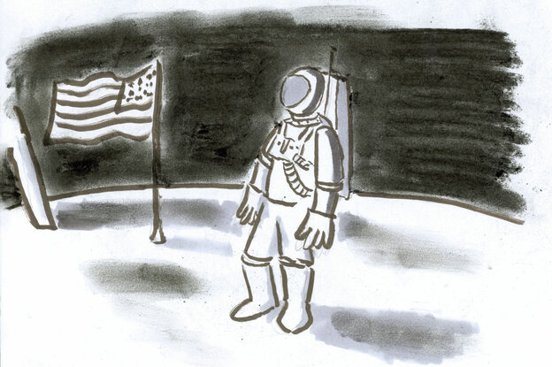 Armstrong on the moon.