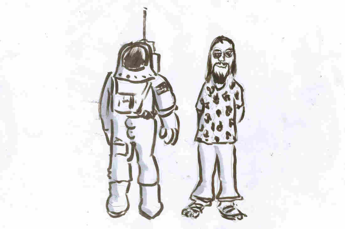 An astronaut and a hippie.