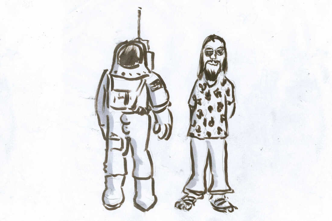 An astronaut and a hippie.
