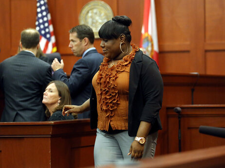 Rachel Jeantel leaves the courtroom for a break during George Zimmerman's trial in June 2013.