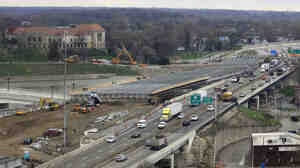 The I-75 highway modernization project in Dayton, Ohio, in April 2014.