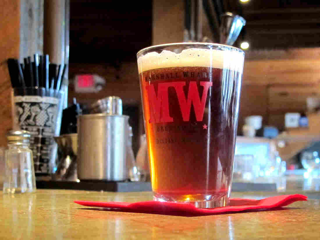 A glass of the seaweed beer created by Marshall Wharf Brewing Co. in Belfast, Maine.