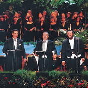 Placido Domingo, José Carreras and Luciano Pavarotti at Dodgers Stadium in Los Angeles, with conductor Zubin Mehta.