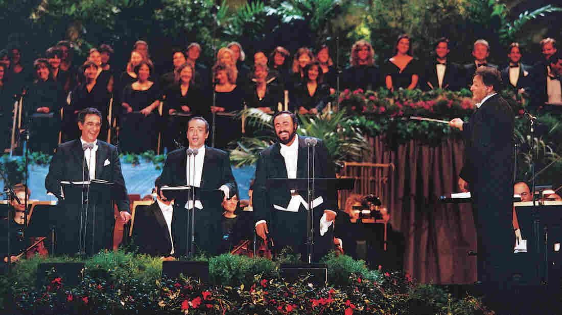 Placido Domingo, José Carreras and Luciano Pavarotti at Dodgers Stadium in Los Angeles, with conductor Zubin Mehta.