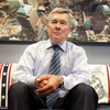 U.S. Customs and Border Protection Commissioner R. Gil Kerlikowske sits under an image of New York's Ground Zero in his office in Washington. For him, it serves as a daily reminder of the security threats that have shaped his agency.