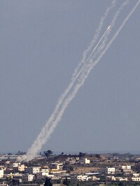 Rockets are launched from Gaza toward Israel on Wednesday, one day after a cease-fire proposal failed.