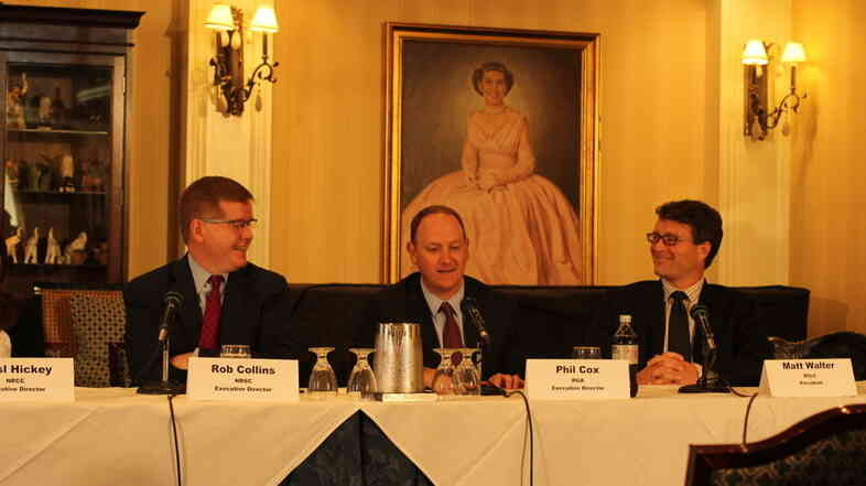 Republican officials Rob Collins, Phil Cox and Matt Walter all seemed pleased at a briefing for journalists about the GOP's midterm election prospects, as did former first lady Mamie Eisenhower.