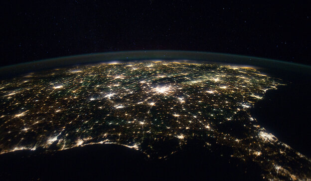 Our planet is unique. When are we going to recognize and celebrate this fact? Above, the Southern United States as seen from the International Space Station.