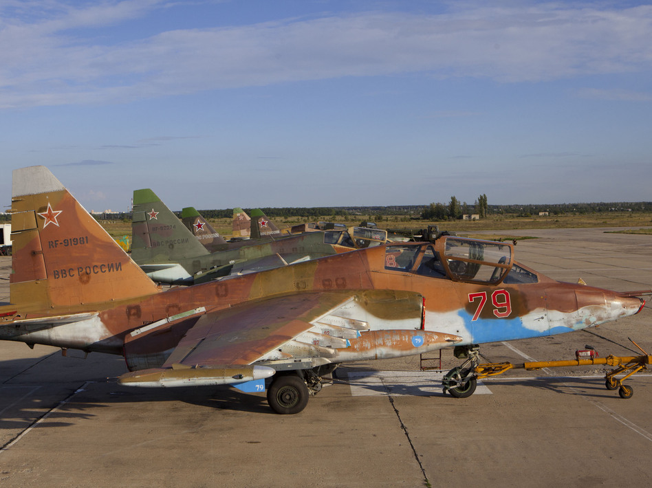 A Sukhoi Su-25 single-seat, twin-engine jet aircraft with Russian markings. A similar Ukrainian jet was reportedly shot down late Wednesday.
