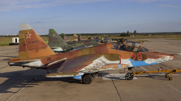 A Sukhoi Su-25 single-seat, twin-engine jet aircraft with Russian markings. A similar Ukrainian jet was reportedly shot down late Wednesday. (ITAR-TASS/Landov)