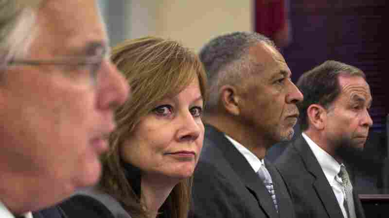 Executive vice president and general counsel at General Motors Co. Michael Millikin (from left), GM CEO Mary Barra, CEO and president of Delphi Automotive PLC Rodney O'Neal and chairman of the firm