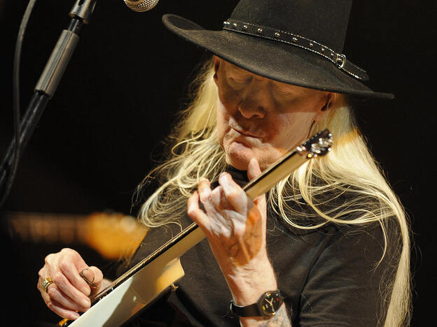 Legendary blues guitarist Johnny Winter, seen here performing in Valencia in 2008, has died at age 70.