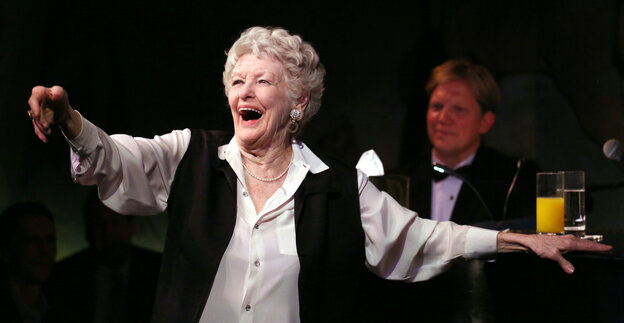 In a career that stretched back to the 1940s, Elaine Stritch did it all: theater, TV, movies. Above, Stritch performs her final engagement at the Cafe Carlyle in New York in April 2013. Stritch died Thursday at the age