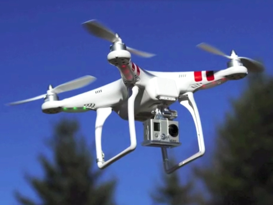 """The drone in Potter's promotional video on Kickstarter. """"Now I'm looking at other models (and a second drone) because some people have threatened to shoot it down,"""" Potter says."""