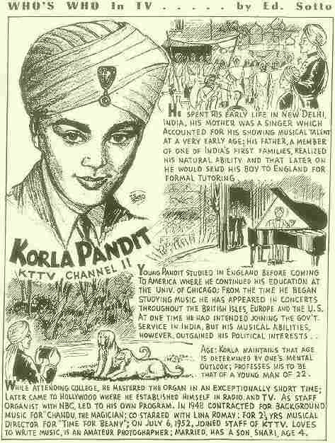 A KTTV poster about Korla Pandit says that he was born in New Delhi.