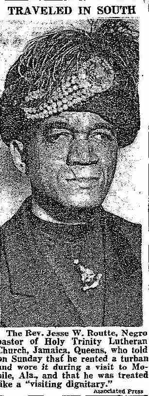 """A newspaper photo of the Rev. Jesse Routté after his """"turban trick"""" in Alabama."""