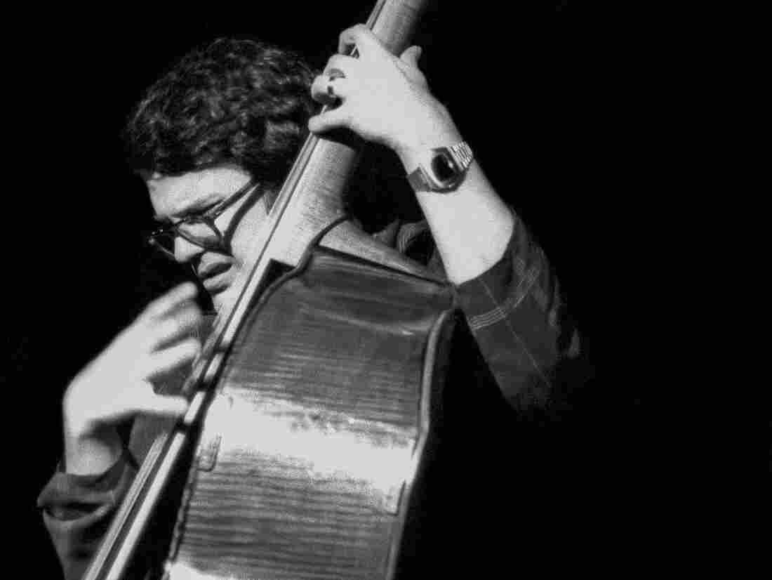 Charlie Haden plays upright bass with Keith Jarrett's band in New York City, 1975.