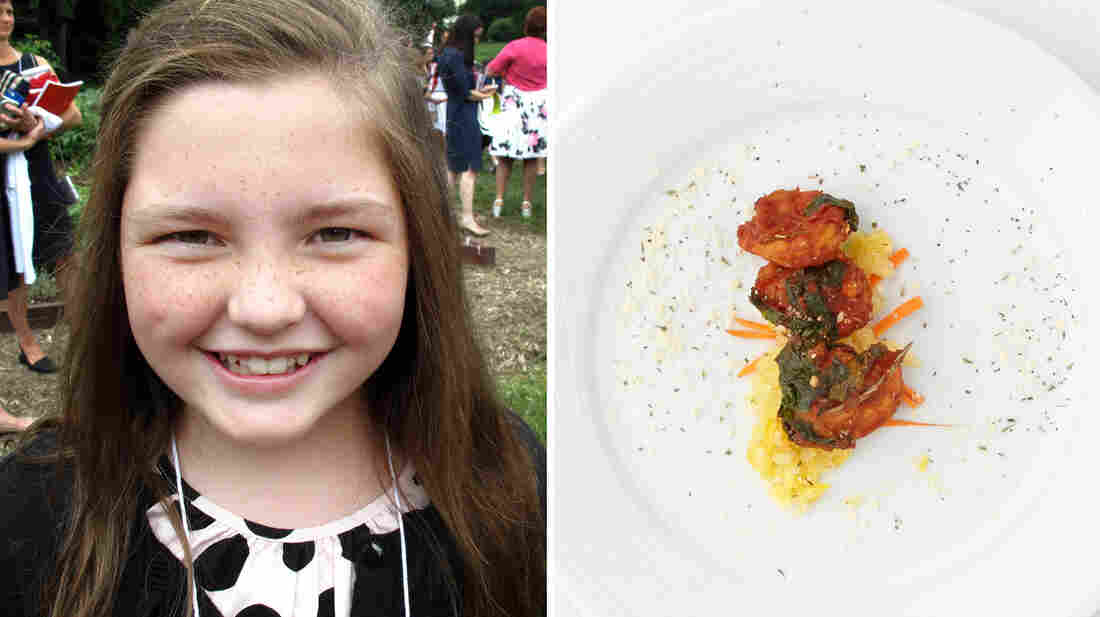 Jane Battle, 10, from Alabama, made veggie spaghetti with Gulf shrimp.