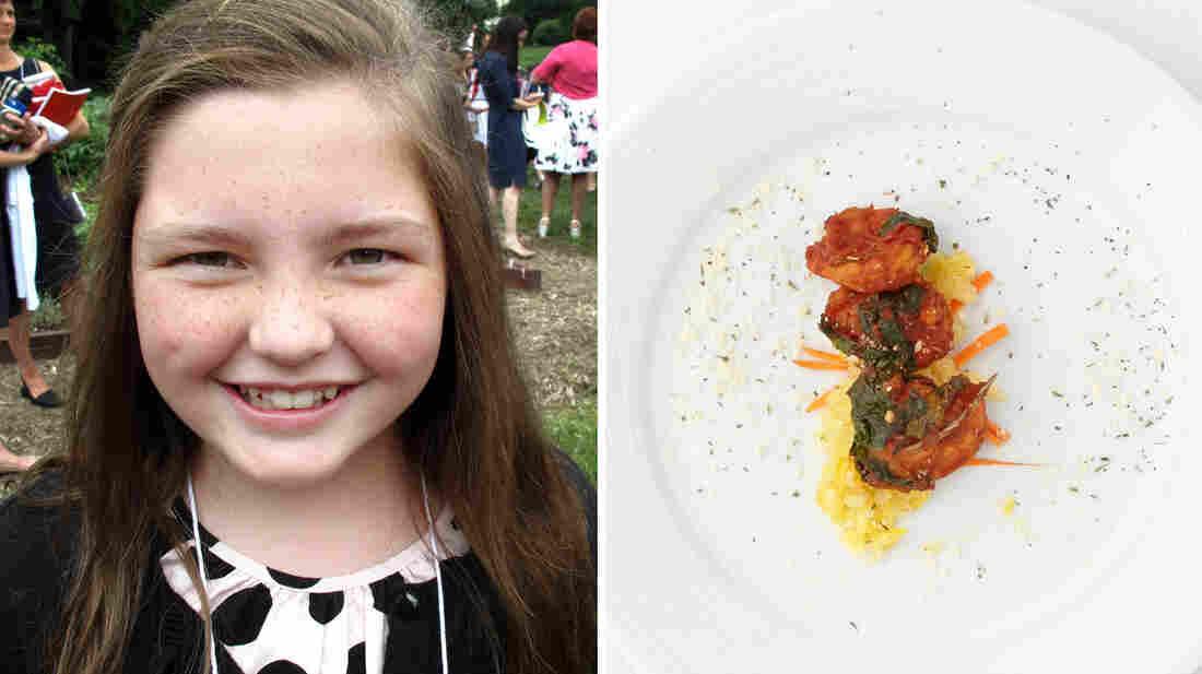 Jane Battle, 10, from Alabama, made veggie spaghetti with Gulf shrimp.