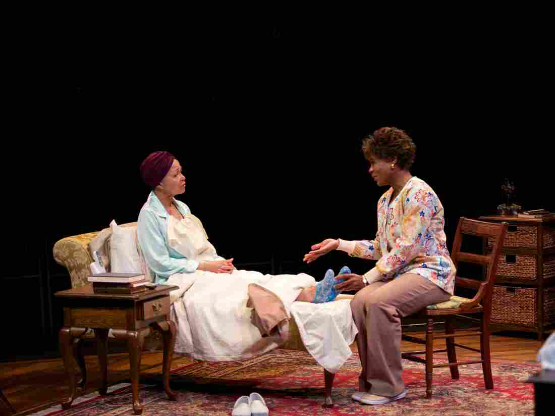 Lizan Mitchell (left) as the wealthy and crotchety Carolyn and N.L. Graham as Veronika, her nurse, in the play Dead and Breathing.