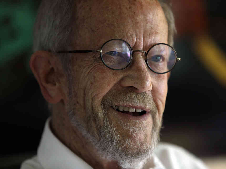 Author and former adman Elmore Leonard smiles during an interview at his home in Bloomfield Township, Mich., in September 2012.