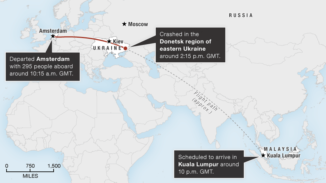 Map showing the flight path of Malaysia Airlines MH17.