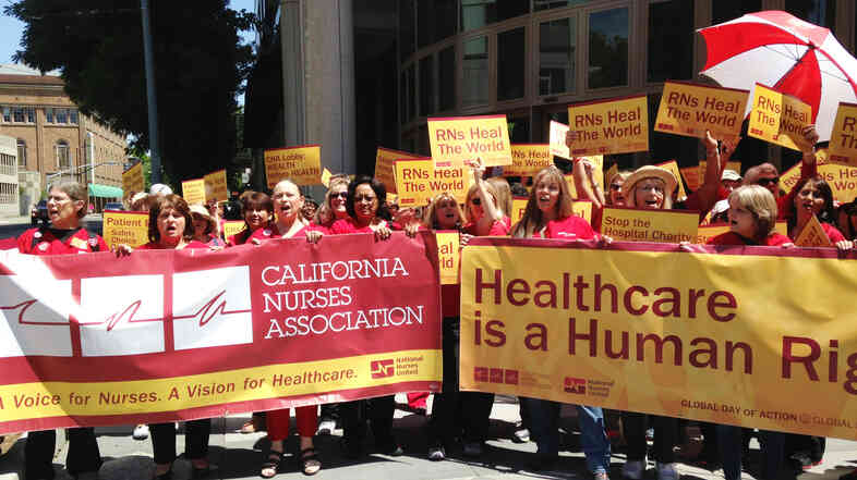 Members of the California Nurses Association say they rallied in Sacramento in May to raise public awareness of their concerns about patient care in California hospitals.