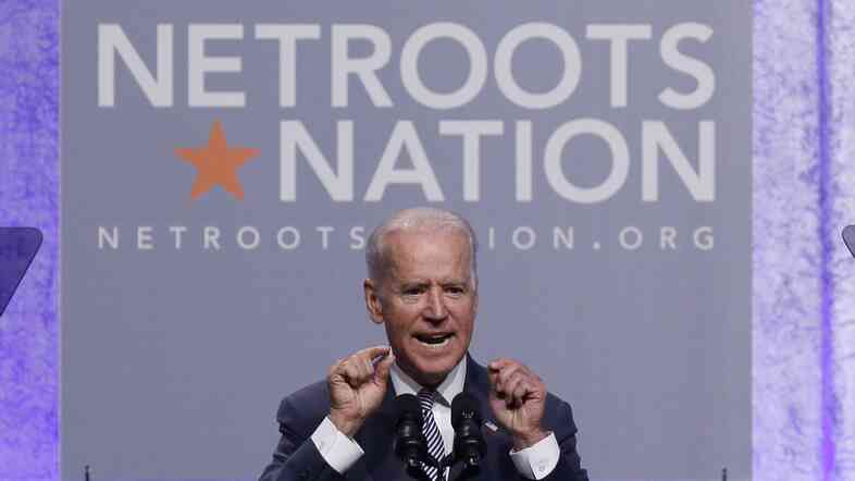 Vice President Biden addresses Democratic activists Thursday at Netroots Nation in Detroit.