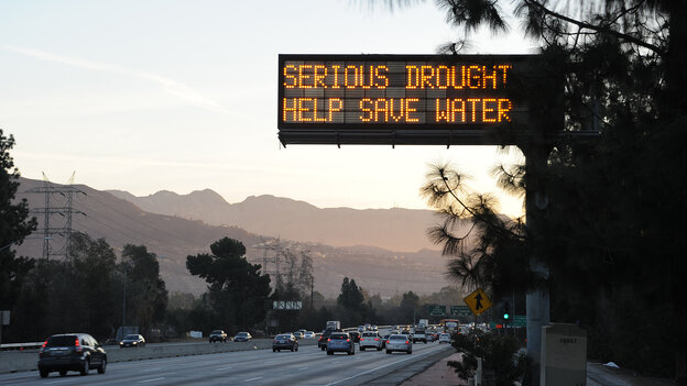 A sign over a highway in Glendale, Calif., warned motorists in February to save water in response to the state's severe drought. But a study released earlier this week showed residents in the southern coastal part of the state used more water this spring than they did last year.