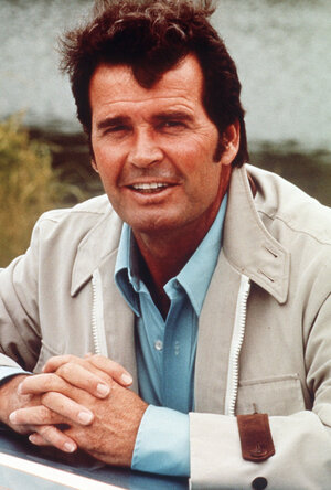 James Garner plays Jim Rockford in The Rockford Files in a 1988 photo.