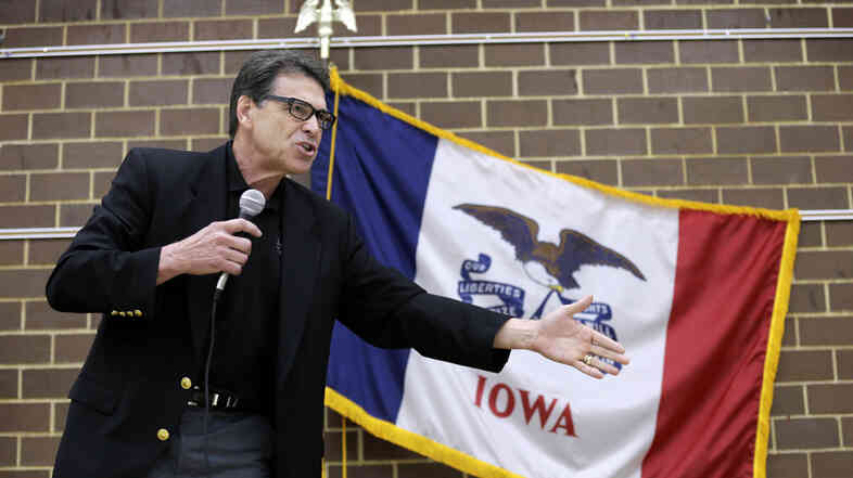 Texas Gov. Rick Perry speaks to local party activists on Saturday in Algona, Iowa.